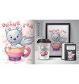 cat in cup poster and merchandising vector image vector image