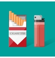 cigarette pack with cigarettes and lighter vector image vector image