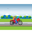 Couple on a motorbike vector image vector image