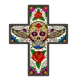 Cross with winged sugar skull isolated on white vector image vector image