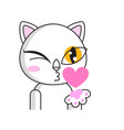 cute cat winks and shows air kiss vector image