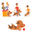 cute playing dogs with people vector image vector image