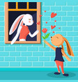 cute rabbit giving rose flower greeting card vector image vector image