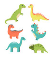 dinosaurs types collection vector image