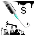 drilling rigs and syringe vector image vector image
