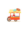 flat street food cart with donuts vector image vector image
