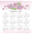 flower calendar 2019 decorative floral folk vector image