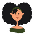 girl with black hair on white background vector image vector image