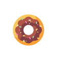 glazed sprinkled chocolate donut flat icon vector image vector image