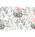 hand drawn floral winter seamless pattern vector image