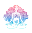 Hand drawn of pregnant woman sitting in lotus pose vector image vector image