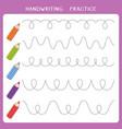handwriting practice worksheet vector image vector image