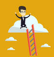 happy business man sitting on the cloud vector image vector image