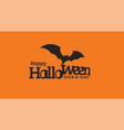 happy halloween text with black silhouette of vector image vector image