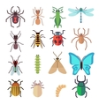 Insect flat icons set vector image