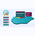 isometric hungary country map tagged in budapest vector image