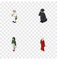 isometric person set of detective pedagogue vector image vector image