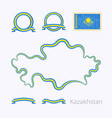 kazakhstan - outline map and ribbons vector image vector image