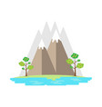 landscape of mountains and lake in flat style vector image