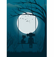little girl with cat on tree swing over full moon vector image vector image