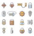 lock door types icons set cartoon style vector image