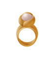 luxury golden ring with bright pearl color banner vector image