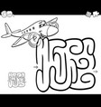 maze with plane coloring page vector image vector image
