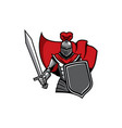 medieval knight in armour and red cape icon vector image vector image
