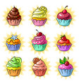 pop art tasty cupcake patch or sticker set vector image
