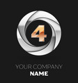 realistic golden number four logo in the circle vector image vector image