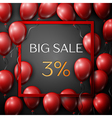 Realistic red balloons with text Big Sale 3 vector image vector image