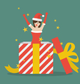 santa girl out big gift box vector image vector image