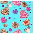 Seamless background with stylized hearts vector image vector image