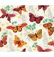 Seamless pattern with butterfly and flowers vector image vector image