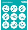 set of round icons white Eyelash extensions vector image vector image