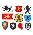 shield with lion heraldry logo coat vector image vector image
