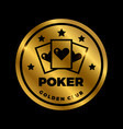 shine golden poker label design golden vector image