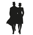 silhouette couple walking wearing retro style vector image vector image