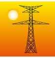 silhouette high voltage power lines on orange vector image