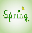 Spring card with folded letters leaves and flowers vector image vector image