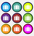 suitcase icon sign Nine multi colored round vector image vector image