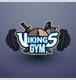 vikings sport logo emblem for gym vector image