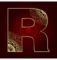Vintage alphabet with floral swirls letter R vector image