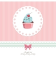 Vintage greeting card template with cupcake vector image vector image