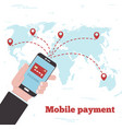 world mobile payment concept in line art style vector image vector image
