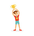 young athletes boy holding winner cup kid vector image vector image