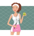 Beautiful girl play tennis vector image