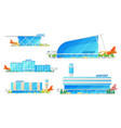 airport terminal building and airplane icons vector image vector image