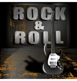 an electric guitar on a metal background vector image vector image