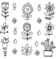 art of flower set doodles vector image vector image